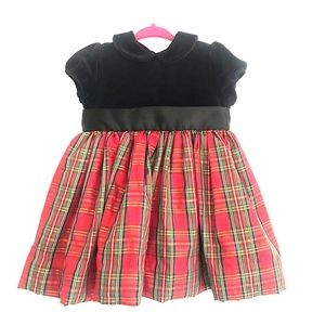 Little Me holiday plaid baby girl dress